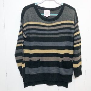 Romeo & Juliet Couture Gray Stripe Sweater NWT